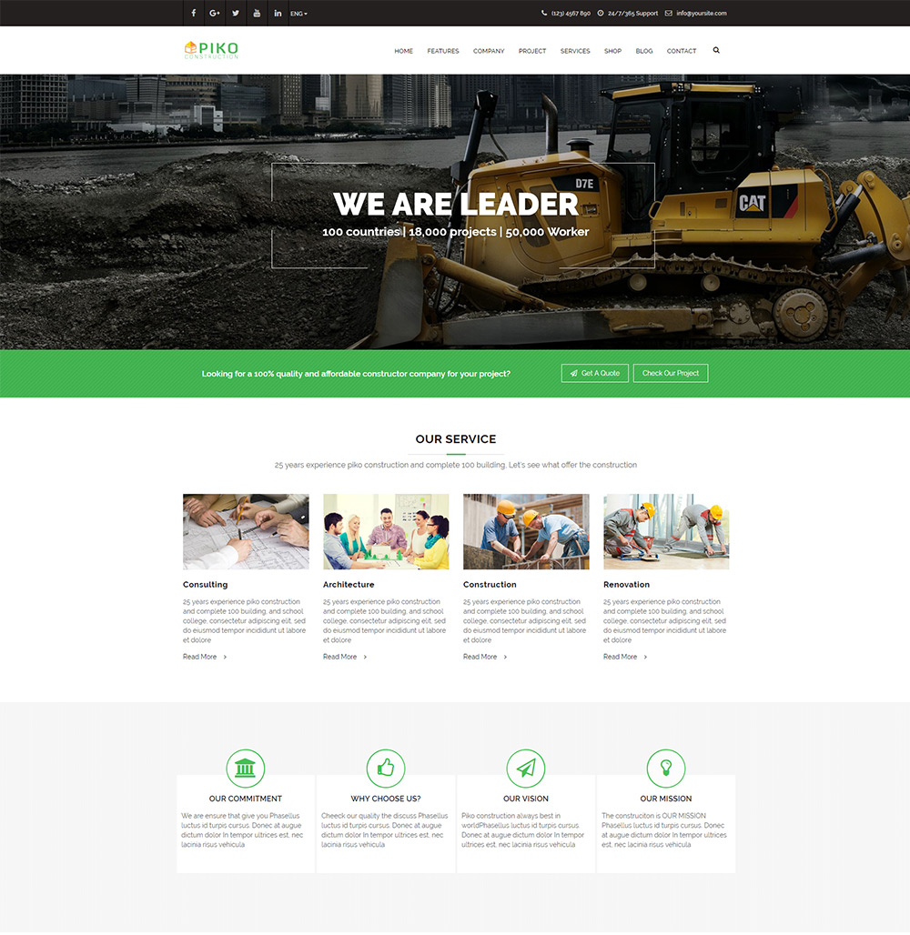 Construction Company Building Business Html5 Template Themepiko