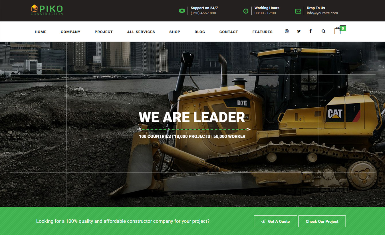 HTML5 Construction Company Building Business Theme – Pikocon