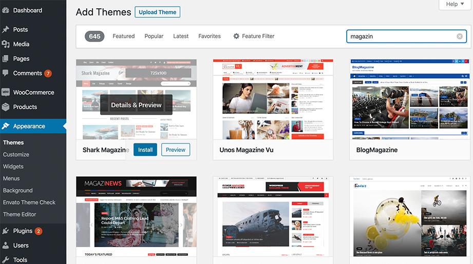 wordpress themes search